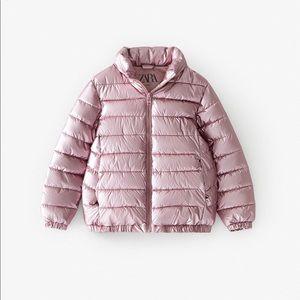 Zara girls pink metallic lightweight puffer coat